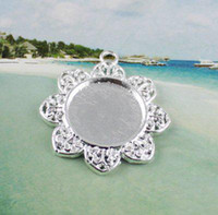 Wholesale framed flower pictures - 50 Silver plated glue on bail picture frame flower charm A12188SP