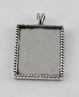 Wholesale Tibetan Picture Frame Charm - 50 Tibetan silver glue on bail picture frame rectangle charm A12192