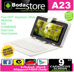 """Wholesale Tablet Pc W Dual Camera - Wholesale-FreeShip Boda 9"""" inch Android 4.2 Tablet PC A23 Dual Core 8GB Dual Cam w & White Keyboard"""
