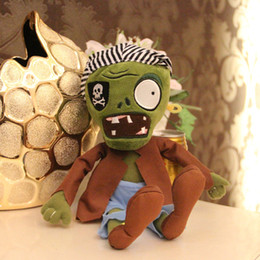 Wholesale Doll Ceramic - Wholesale-New arrival Plants vs Zombies plush toy 30cm Cartoon cute green Pirate scarf zombie plush doll Children's gift Decoration