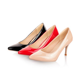 Wholesale Size 33 Heels - Wholesale-Ladies' Pumps Fashion Sexy Shiny Synthetic Leather Pointed Toe Stiletto High Heels Women's Shoes Size US 3-13  EU 33-45