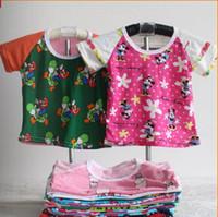 Wholesale Cheap Cotton Tees - Wholesale-Hot sale wholesale 100%cotton short sleeve kids T shirt 1-9years children tees 10pcs lot cheap children T shirts