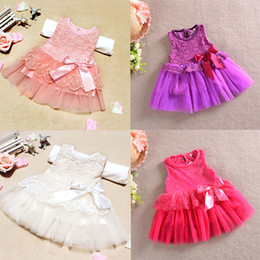 Wholesale One Piece Balls - Wholesale-Baby Girls One Piece Formal Dress Lace Flower Bow Bowknot Party Dress Age 0-3YFree Drop Shipping