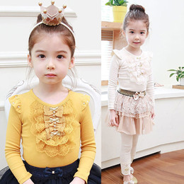 Wholesale Lace Ruffle T Shirt Top - Wholesale-1Pcs Kids Girls Toddler Long Sleeve T-shirt Cotton Ruffled Lace Bowknot Tops 1-4Free&Drop Shipping