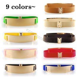Wholesale Elastic Belt Mirror - Wholesale-2015 New Elastic Mirror Metal Waist Belt Leather Metallic Bling Gold Plate Wide Belt for Women Accessories Dress 24