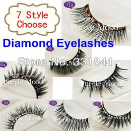Wholesale Diamond Eye Lashes - Wholesale-New 5 Style Pack Thick Glitter & Shimmery False Eyelashes Diamond Sticking Eyelashes, Eye Lashes, Makeup Lashes Free Glue
