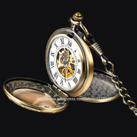 Wholesale Skeleton Watch Necklace - Wholesale-Classic Double-Hunter Windup Skeleton Steel Mens Roman Mechanical Pocket Watch with Necklace