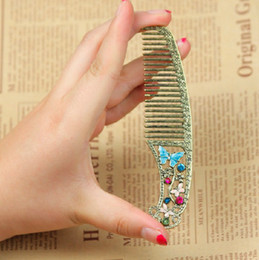 Wholesale Dragonfly Comb - Wholesale-12cm Retro Bronze Hair Accessory hollow Rhinestone Enamel Butterfly Dragonfly Comb