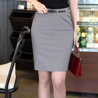 Wholesale Hot Skirt Styles - Wholesale-HOT 2015 Summer Style Slim Hip Career Short Skirts Womens Ladies Sexy High Waist Knee-Length Pencil Skirt 4 Colors Plus Size