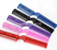 Wholesale Thin Blade - Wholesale-12 PCS Lot 4 Color Razor Comb Hair Cutter Thinning Shaper Comb 2 Razor Blades Trimmer Barber Remover Tool Super