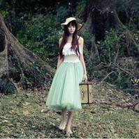 Wholesale China Tutu Skirts - Wholesale-Black Maxi Skirt Green Five Layer Ball Gown Tutu Skirts Summer Long Skirt Women Swing New 2015 Cheap Clothes China