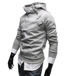 Куртки с ожерельем онлайн-Оптовая продажа-Я уникальное ожерелье толстовки кофты толстовки мужчины Assassins Creed толстовка серый куртка стенд воротник весна и осень