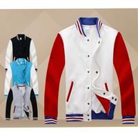Wholesale Mass Effect Hoodie - Wholesale-men mass effect patchwork plain sport sweatsuit raglan sleeve blank hoodie with stand collar hiphop baseball varsity jacket