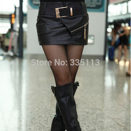 Wholesale-2015 New Fashion Sexy Women Zipper Pencil Leather Package Hip Black Skirt Plus Size S-XXXL