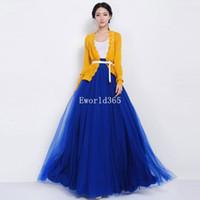 Wholesale womens long skirts chiffon - Wholesale-New Fashion Women Womens Tulle Gauze Mesh Long Maxi Skirt Wedding Dress Long Chiffon Female Candy Color Pleated Womens Skirts