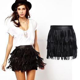 женская юбка tassels Скидка Wholesale- New Summer High Waisted Skirts Womens Faldas Ladies Vintage Faux Leather Tassel Fringe Skirt Saia Feminina Plus Size YB370