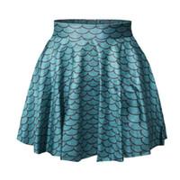 saia de moda punk venda por atacado-Atacado-Moda 2016 chegam novas A pequena sereia Imprimir Mulheres saia plissada saias femininas saias do punk escala de peixe saias curtas