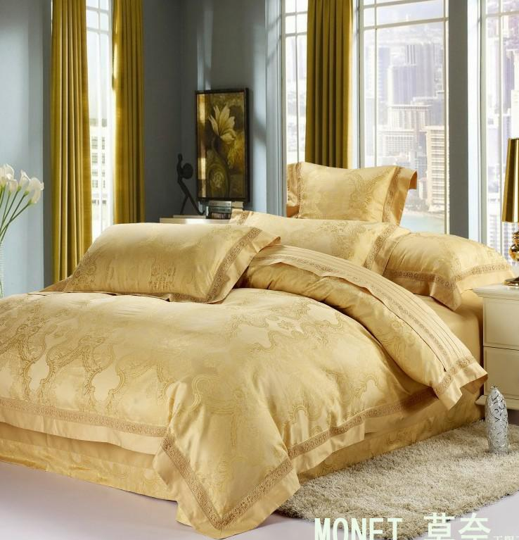 Wholesale Luxury White Silver Gold Silk Satin Bedspreads