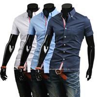Wholesale Mens Army Dress Shorts - Wholesale-Free Shipping Mens Slim fit stylish Dress short Sleeve Shirts Mens dress shirts 9066