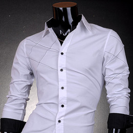 Mens Shirt Lined Collar Canada - Wholesale- Jeansian Mens Fashion Cotton Designer Cross Line Slim Fit Dress man Shirts Tops Western Casual New S M L XL 2028