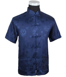 Wholesale Chinese White Coat - Wholesale-Navy Blue New Summer Chinese Men's Silk Satin Kungfu Shirt Coat top S M L XL XXL XXXL M2066