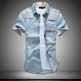 $enCountryForm.capitalKeyWord UK - Wholesale New Summer Trend Water Wash Wearing White Men's Short Sleeve Denim Shirts Plus Size 3XL 4XL 5XL