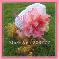Wholesale Waffle Crochet Beanie Girls - Wholesale-Free Shipping!6pcs lot New 6'' Baby waffle crochet beanies with flowers knit waffle beanies can mix order