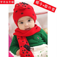 Wholesale New Beetle Caps - Wholesale-New Baby ladybug hat and scarf set ladybird DR.Cotton CAP HATS Beetle sets baby Winter hat