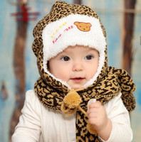 Wholesale Child Baby Hat Twinset - Wholesale-Baby Winter Hat Child Hat Leopard Print Hat Perimeter Twinset Bonnet Child Knitting Wool Cap Winter Scarf Muffler Scarf BabyBat