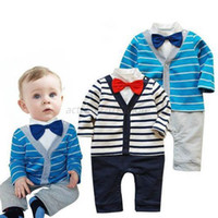 Gros-Kids Baby Boy rayé Gentleman Jumpsuit Bodysuit Vêtements Outfit Bow Tie