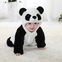 Wholesale Cute Babies Panda Costume - Wholesale-Free Shipping New Cute Animal Panda One Piece Long Sleeve Cotton Baby Romper Baby Costume Newborn Romper Kids Costume