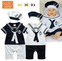 белые детские рубашки-комбинезоны оптовых-Wholesale- Baby Boy Girl Sailor Romper 2 Piece Clothes Suit Grow Outfit Summer Marine Navy White Color Shirt Shorts,Tie and Hat 0-24M