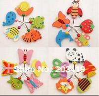 Wholesale Cute Hanging Wall - Wholesale-Cute Cartoon Wooden Animal Robe Home Wall Hanging Hook Hanger Creative Gifts Kids Nursery wholesale