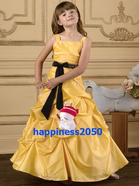 사랑스러운 노란색 태 피터 스트랩 비즈 꽃 소녀 드레스 휴일 스커트 생일 드레스 미씩 드레스 사용자 정의 크기 2 4 6 8 10 12 F1218085