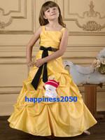 Lovely Yellow Taffeta Straps Beads Flower Girl Dress Holiday...