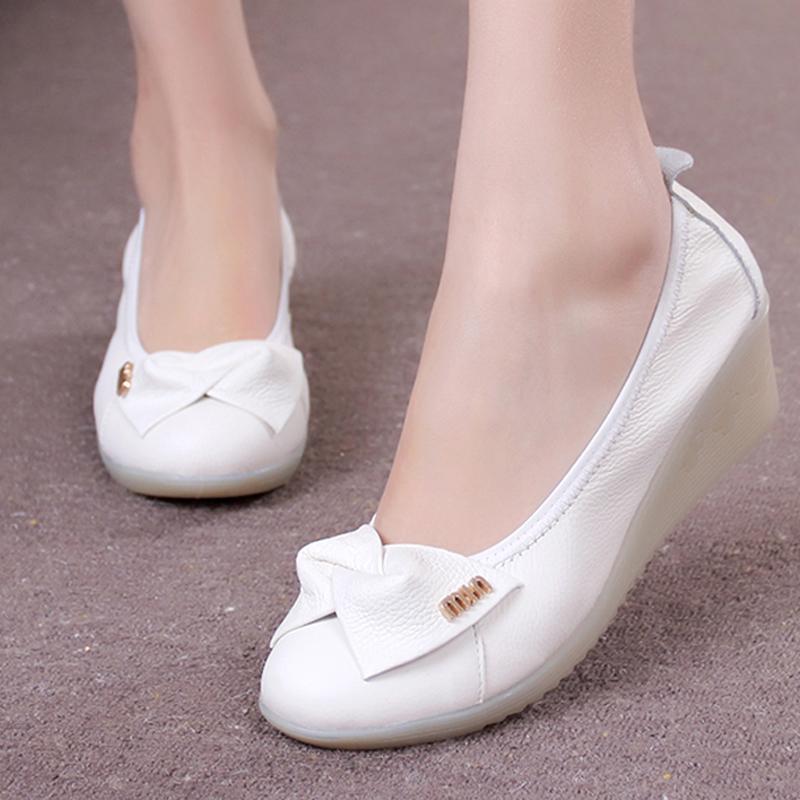 2015 Gros Infirmiers Infirmière Peau Cuir Muscle Véritable Vache Semelle Mode De En Coins Mère Chaussures Soins Blanc 534LRAj