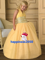 Lovely Yellow Tulle Halter Beads Flower Girls' Dresses Girls...