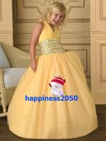 Lovely Yellow Tulle Halter Beads Flower Girls' Dresses Girls...