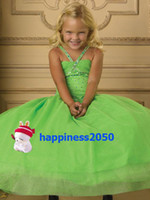 Lovely Green Organza Straps Beads Flower Girl Dress Holidays...