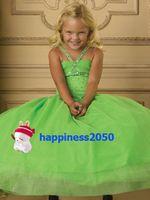 Lovely Green Organza Straps Beads Flower Girl Dress Holidays...