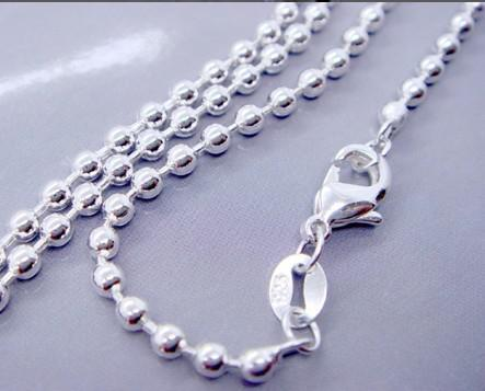"925 sterling silver 1.5mm ball bead chain necklace fashion jewelry new 18"" 10pcs"