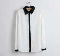 Wholesale Trendy Black Fashion Blouse - Wholesale-Free shipping New Promotions!2015 hot summer Fashion trendy women blouse shirts Classic black and white Department shirt