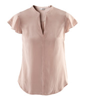 All'ingrosso-2015 di nuova estate di Ladies 'Smooth solido di colore breve maniche a farfalla con scollo a V Shirt Blouse Abbigliamento Donna taglie Incluso nel