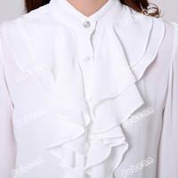 Wholesale Korean Ladies Chiffon Ruffle Blouse - Wholesale-Korean Office Lady White Chiffon Shirt Size S-2XL Ruffled Decoration Long Sleeve Career Women Pink & Black Fashion Blouse