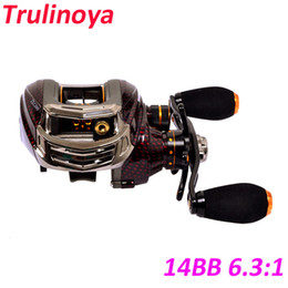 Wholesale Trulinoya Reels - Wholesale-2015 New Trulinoya Pesca 14BB 6.3:1 Left Hand Bait Casting Fishing Reel 13+1 Ball Bearings+One-way Clutch TS1200 Red