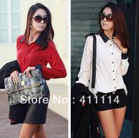 Wholesale Trendy Black Fashion Blouse - Wholesale-2015 new Promotions hot trendy cozy women blouse shirts Fashion Korean version of the leather stitching silk shirt SA