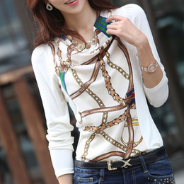 Wholesale Korean Style Large Size Woman - Wholesale-New 2015 Free shipping spring autumn women chiffon blouse long sleeve printed shirt casual large size base Fold Korean style