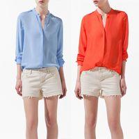 Wholesale Stud Chiffon Shirt - Wholesale-New 2015 Summer Autumn Long Sleeve V-Neck Studs Blue Orange Chiffon Shirt Women Blouses Tops For Women Clothes Ladies Blouses