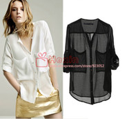 Wholesale Chiffon Collarless Tops - Wholesale-New 2015 Autumn and Summer Women V-Neck Collarless Button-front See-through Long Sleeve Chiffon Shirts Blouse Tops
