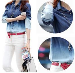 Wholesale Gradient Denim Shirts Women - Wholesale-High Quality Denim Blouse 2015 Spring S-3XL Women's Jeans Camisa Jeans Feminina Gradient Women Blouses Plus Size Jean Shirt